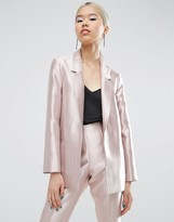 Asos Ultimate Pink Structured Metallic Blazer