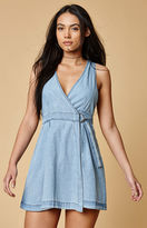 MinkPink Float Denim Wrap Mini Dress