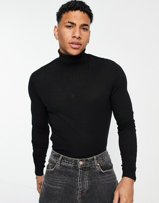 ASOS DESIGN cotton roll neck sweater in black
