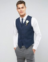 Asos WEDDING Skinny Vest in Navy Wool Mix