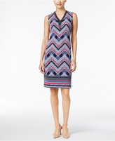 JM Collection Beaded-Neck Chevron-Print Dress, Only at Macy's