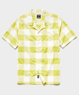 Todd Snyder Italian Camp Collar Short Sleeve Shirt in Vintage Yellow Plaid