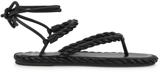 Valentino The Rope black leather sandals