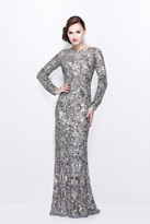 Primavera Couture - Long Sleeve Luxurious Floral Sequined Long Sheath Gown 1401
