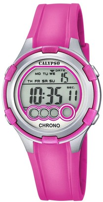 Calypso Women's Digital Watch with LCD Dial Digital Display and Pink Plastic Strap K5692/3
