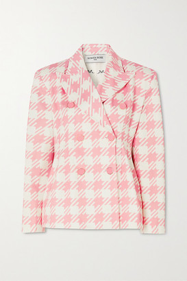 ROWEN ROSE Vichy Iconic Double-breasted Houndstooth Cotton-twill Blazer - Pink