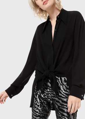 Michael Kors Silk Georgette Tie-Front Shirt