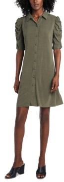 MSK Ruched-Sleeve Shirtdress