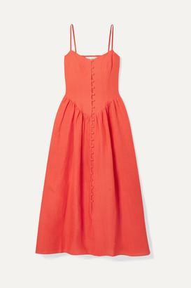 Mara Hoffman + Net Sustain Mischa Gathered Hemp Midi Dress - Papaya