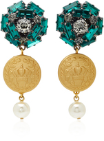 Dolce & Gabbana Embossed Gold-Plated Crystal Drop Earrings