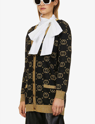 Gucci Monogrammed wool-blend knitted cardigan