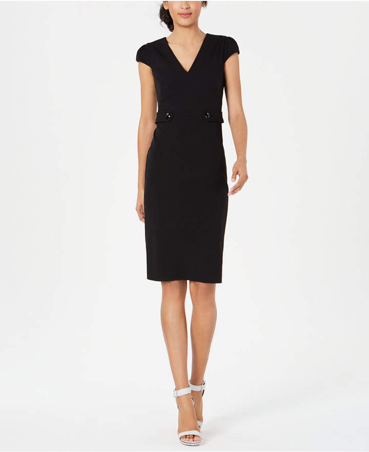 Calvin Klein Tab-Waist Sheath Dress