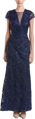 Carmen Marc Valvo Women's Illusion V Front Soutache and Sequin Gown