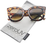 Zerouv Womens Oversized Butterfly Horn Rimmed Round Cat Eye Sunglasses 67mm