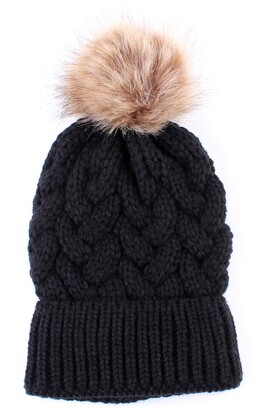 puseky Women Pom Pom Hats Knit Crochet Winter Warm Female Beanie Hats Ski Cap (Color : Black Size : One Size)