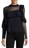 Self-Portrait Asymmetric Frill Long-Sleeve Wool Sweater