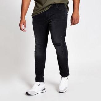 River Island Big and Tall black wash skinny fit jeans