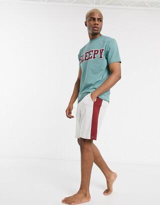 Asos DESIGN lounge pyjama short and tshirt set in gray marl & teal with sleepy slogan
