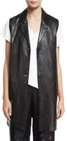 Shamask Button-Front Long Leather Vest, Black