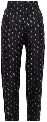 Victoria Victoria Beckham Victoria, Victoria Beckham Cropped Printed Silk-twill Tapered Pants