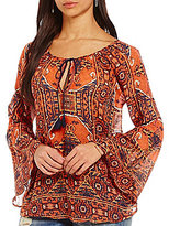 Miss Me Printed Chiffon Bell-Sleeve Peasant Top