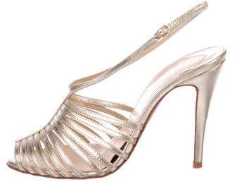 Christian Louboutin Metallic Ankle Strap Sandals