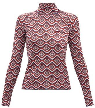 Paco Rabanne Geometric-jacquard Metallic-jersey Top - Red Multi