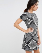 Daisy Street Skater Dress In Scarf Print With D Ring Back