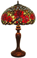 AMORA Amora Lighting AM1535TL16 Tiffany Style Red RosesTable Lamp 24 In