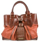 Burberry Leather-Trimmed Tote Bag