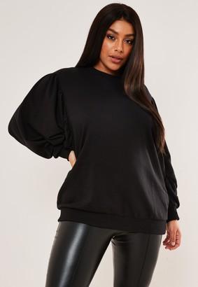 Missguided Plus Size Black Puff Sleeve Sweatshirt