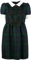 Miu Miu bow tartan smock dress