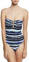 Proenza Schouler Bandeau One-Piece Swimsuit w/ Barbell, Blue Pattern