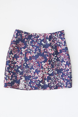Urban Outfitters Luisa Jacquard Notched Mini Skirt
