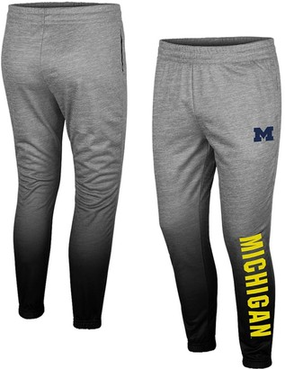 Colosseum Men's Heathered Gray Michigan Wolverines Sitwell Sublimation Fleece Pants