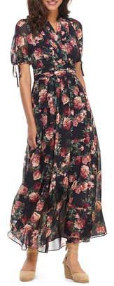 Gal Meets Glam Ashlynn Floral Print Chiffon Maxi Dress