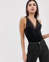 Asos Design DESIGN lace detail halter neck wrap body