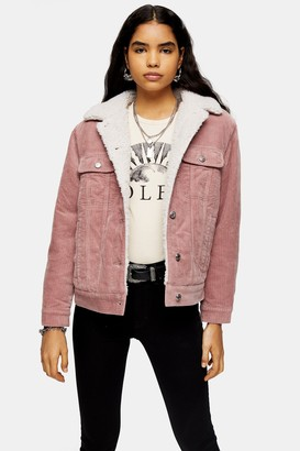 Topshop Womens Pink Corduroy Oversized Borg Lined Jacket - Pink