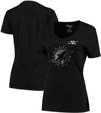 G Iii Women's G-III 4Her by Carl Banks Black Miami Dolphins NFL 100th Season Fair Catch V-Neck T-Shirt