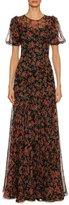 Dolce & Gabbana Rose-Print Chiffon Short-Sleeve Gown, Black