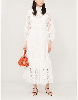 Zimmermann Goldie scalloped-trim lace midi dress