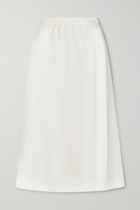 Giuliva Heritage Collection The Isabella Herringbone Cotton And Cashmere-blend Midi Wrap Skirt - Ivory
