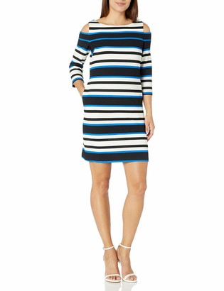 Sandra Darren Women's 1 Pc Petite Cold Shoulder 3/4 Sleeve Printed Striped Shift Knit Dress