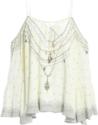 Camilla Cold-shoulder Embellished Printed Silk Crepe De Chine Top