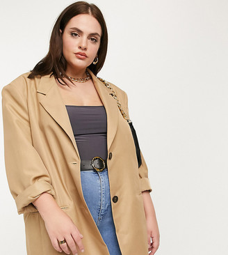 ASOS DESIGN Curve strong shouldered dad suit blazer in camel