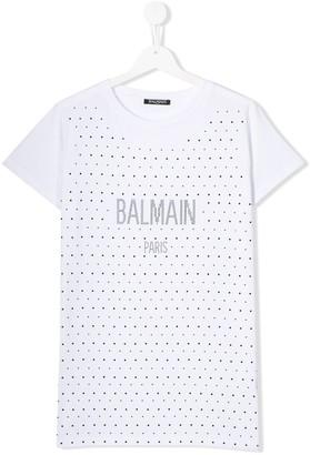 Balmain Kids TEEN studded logo T-shirt