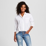 Mossimo Women's Button Up Top with Ruffle Sleeves White