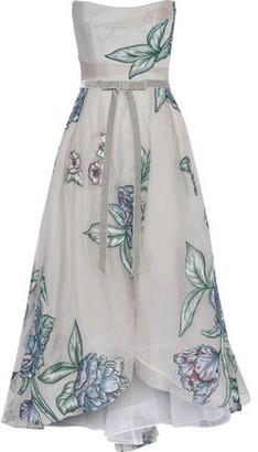 Marchesa Strapless Velvet-trimmed Embroidered Silk-organza Gown