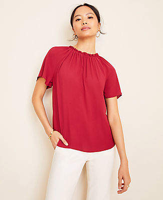 Ann Taylor Petite Mixed Media Ruched Neck Top