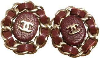 Chanel Purple Leather Earrings